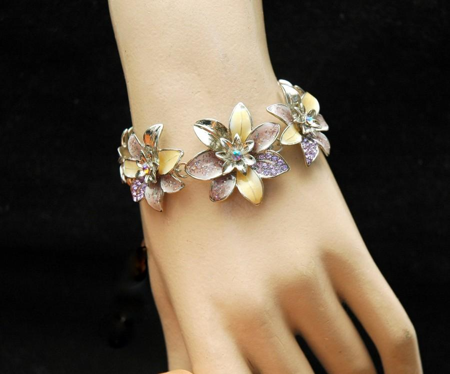 Wedding - Flower Prom Bracelet, Purple Crystal Bracelet, Silver Bracelet, Daisy Flower, Crystal Necklace, Purple Bracelet, Purple Necklace, Prom - $24.99 USD
