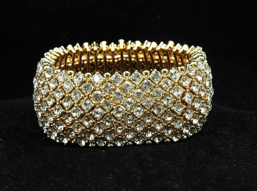 Wedding - FREE SHIPPING Gold Crystal Bridal Cuff Bracelet , Wedding Bracelet, Prom Bracelet, 1920s Rhinestone Bracelet, Prom, Gifts for Her - $40.00 USD