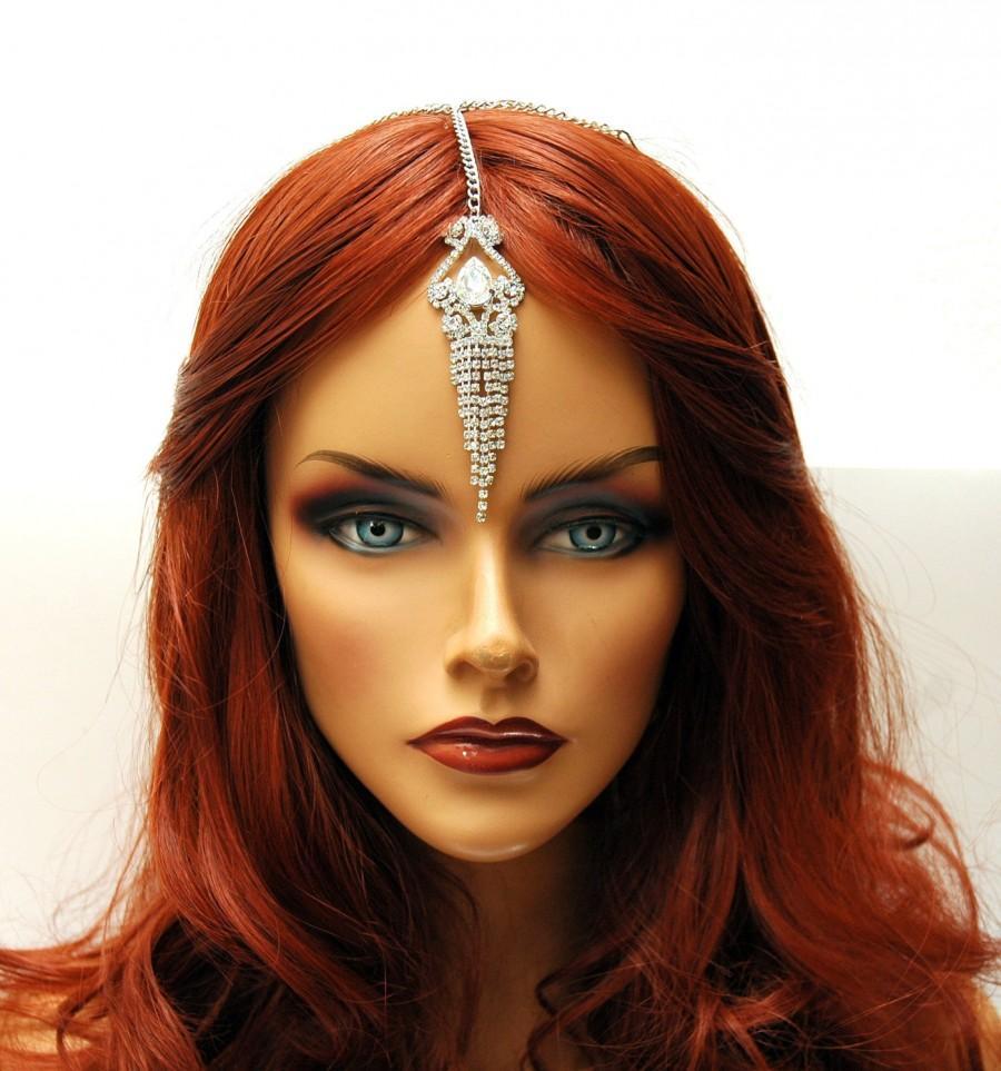 Mariage - FREE SHIPPING Crystal Chain Headpiece, Tikka Headpiece Bridal Headpiece, prom, Rhinestone Hair Chain Headpiece, Wedding Hair Jewelry - $22.00 USD