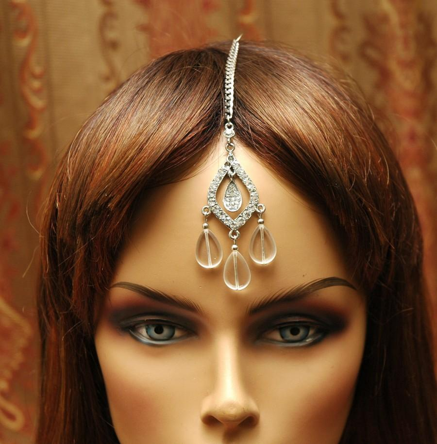 Mariage - FREE SHIPPING Crystal Headpiece Bridal Tikka Headpiece, Wedding Headpiece, Tikka Jewelry, chain Headpiece, Gypsy Jewelry, Tribal Jewelry - $22.00 USD