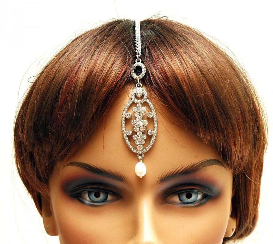 Boda - FREE SHIPPING Bridal Headpiece Prom Crystal Hair Chain Maang Tikka Headpiece, Bellydance Headpiece, Indian Jewelry - $22.00 USD