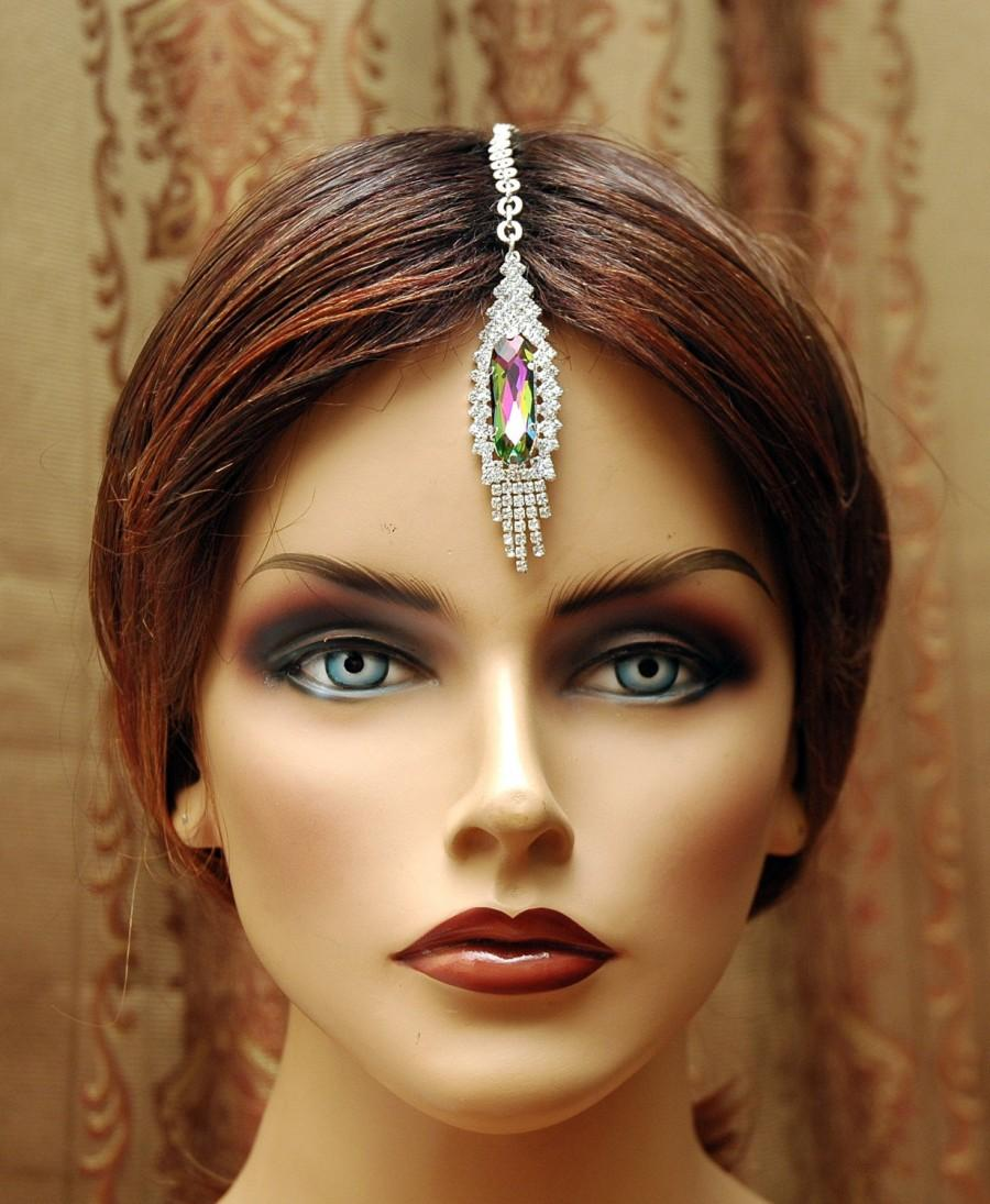 Boda - FREE SHIPPING Maang Tikka Headpiece, Hair Jewelry Bridal Headpiece, Hair Chain Accessory, Indian Head Jewelry, Chain Headpiece, Bollywood India Jewelry - $20.00 USD