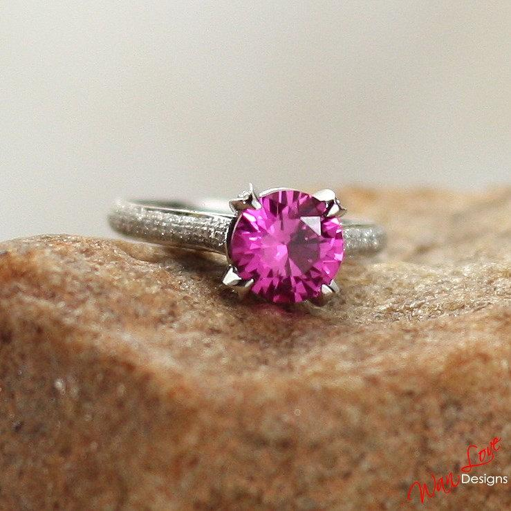 Boda - Pink Sapphire & Diamond pave Engagement Ring Round Basket 2ct 8mm 14k 18k White Yellow Rose Gold-Platinum-Custom-Wedding-Anniversary High