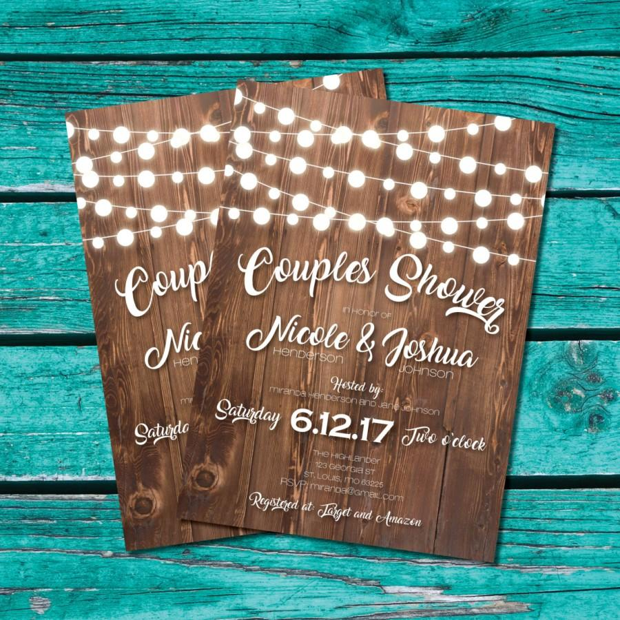 Couples Shower Invitation Bridal Shower Invite Rustic Shower