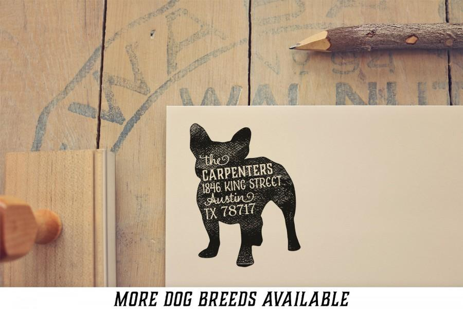 Mariage - Dog Return Address Stamp - Custom Dog Breed Rubber Stamp - Personalized Pet Address Stamp - French Bulldog - More Breeds Available