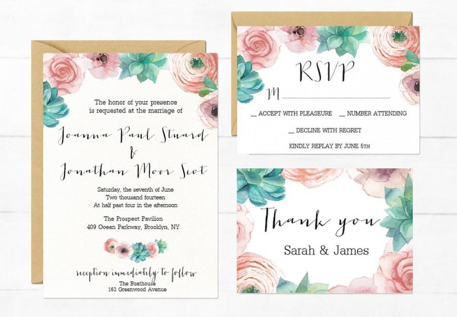 Mariage - Wedding Invitation Suite, Succulent Wedding Invitation Suite, Ptintable Floral Wedding Invitatin Set, Boho Invitations, Bohemian Wedding