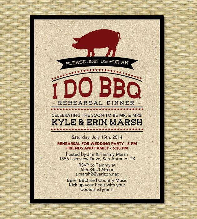 Mariage - Rustic I Do BBQ Rehearsal Dinner Invitation Rustic Kraft BBQ Engagement Party Pig Roast Wedding Shower Invite, Any Color Scheme, Any Event