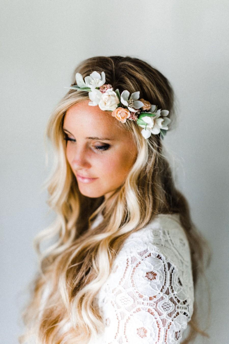 Mariage - Lamb's Ear + Neutral Blooms Flower Crown