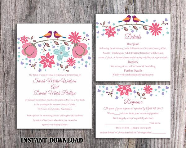 Mariage - Wedding Invitation Template Download Printable Invitations Editable Boho Wedding Invitation Bird Invitation Colorful Floral Invitation DIY - $15.90 USD