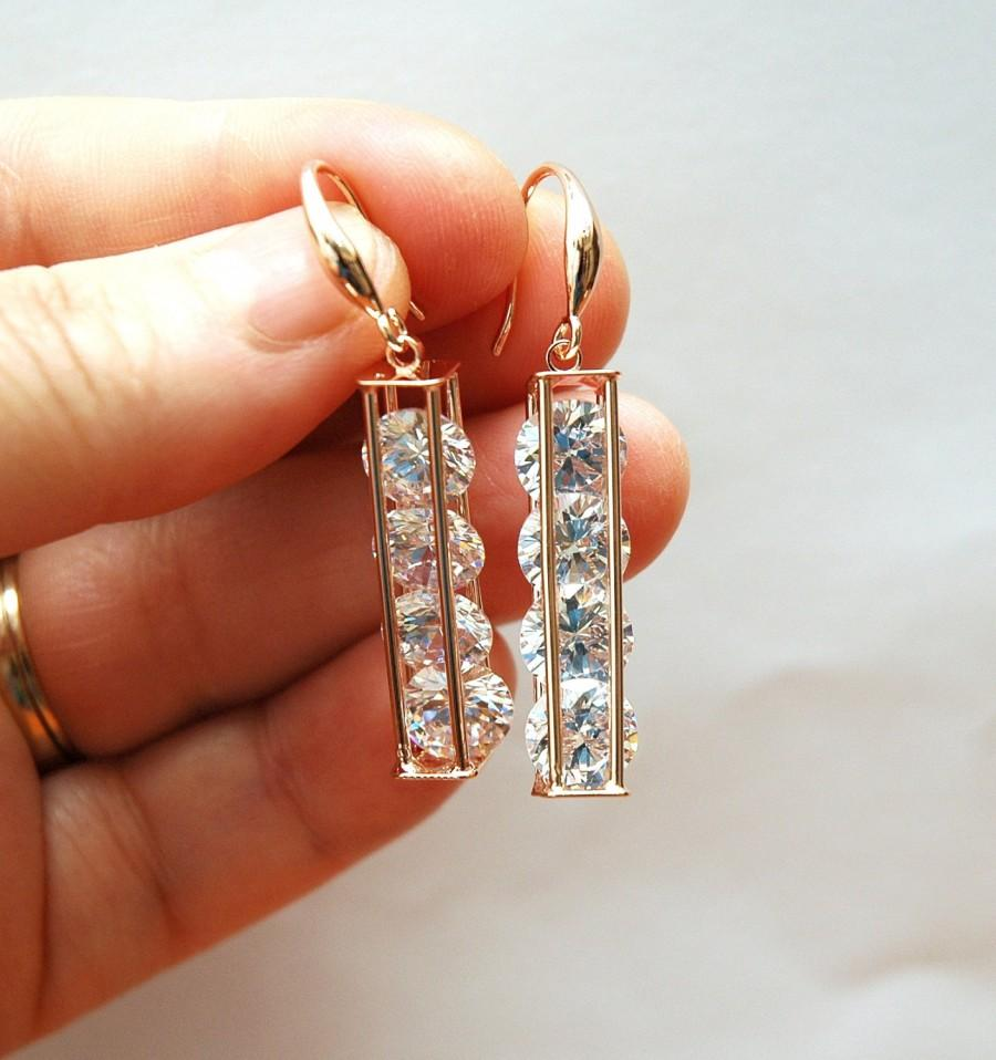 Свадьба - FREE SHIPPING Prom Crystal Earrings Dangle Earrings Wedding Jewelry Bridal Earrings, Bridesmaids Gift, christmas stocking, Fomal Jewelry - $24.00 USD