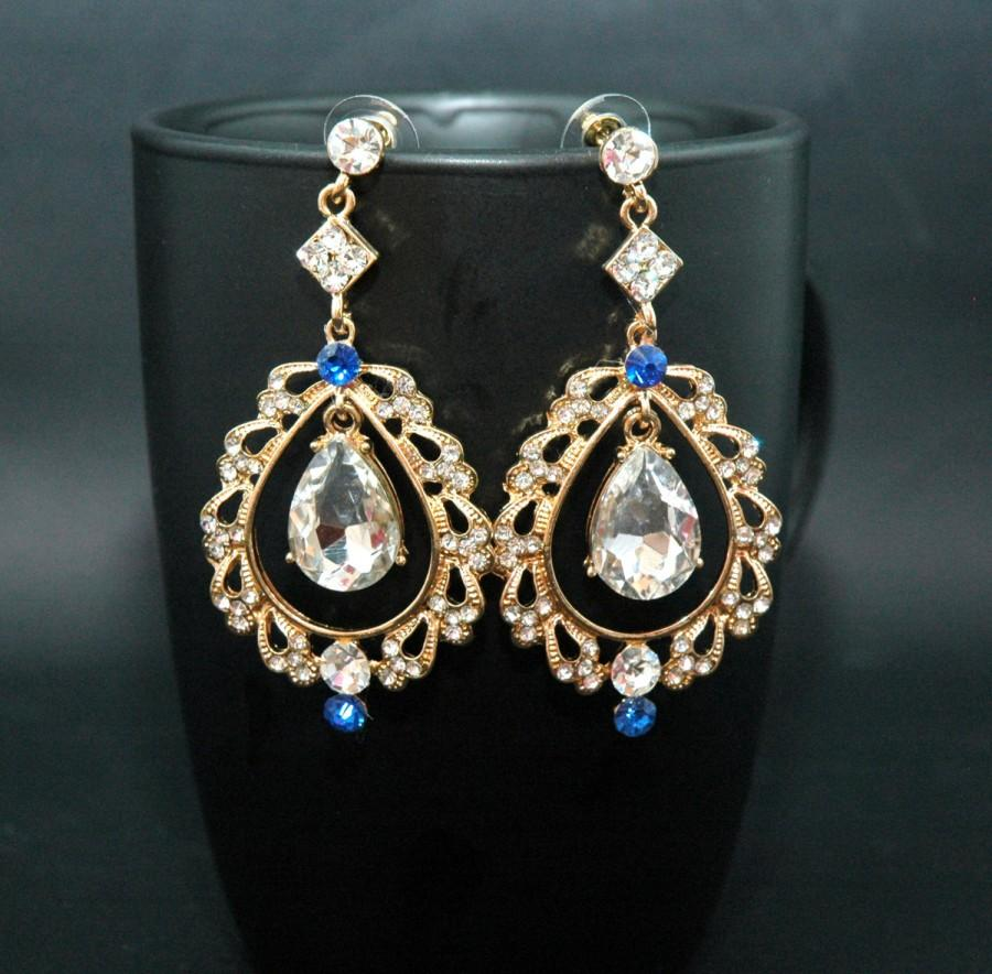 زفاف - FREE SHIPPING Gold Bridal Earrings Wedding Earrings Blue Chandelier Earrings, Prom Earrings, Royal Blue Earrings, Blue Jewelry, Prom Jewelry - $38.00 USD