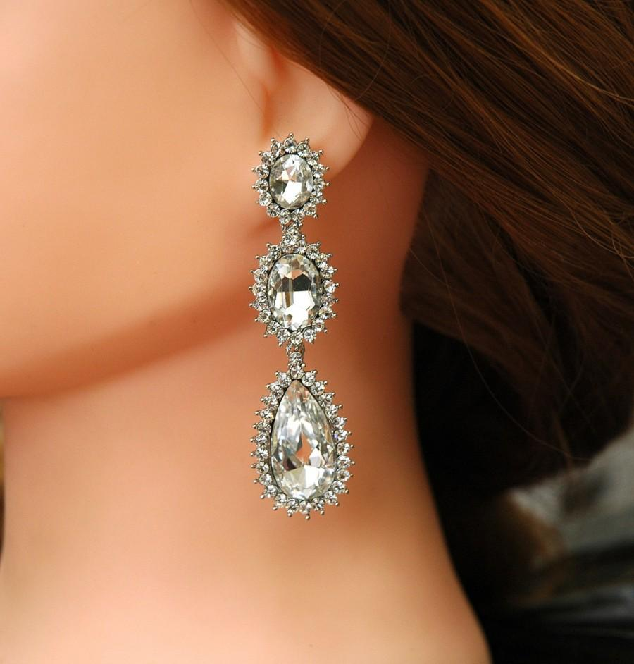1b8e8ddb9e Crystal Bridal Earrings FREE SHIPPING Teardrop Wedding Chandelier ...