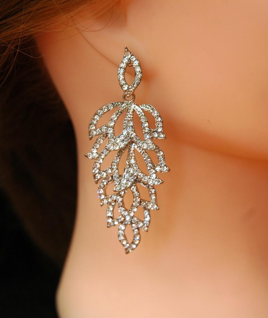 Art Deco Earrings Wedding Free Shipping Bridal Leaf Silver Chandelier Prom Jewelry 32 00 Usd