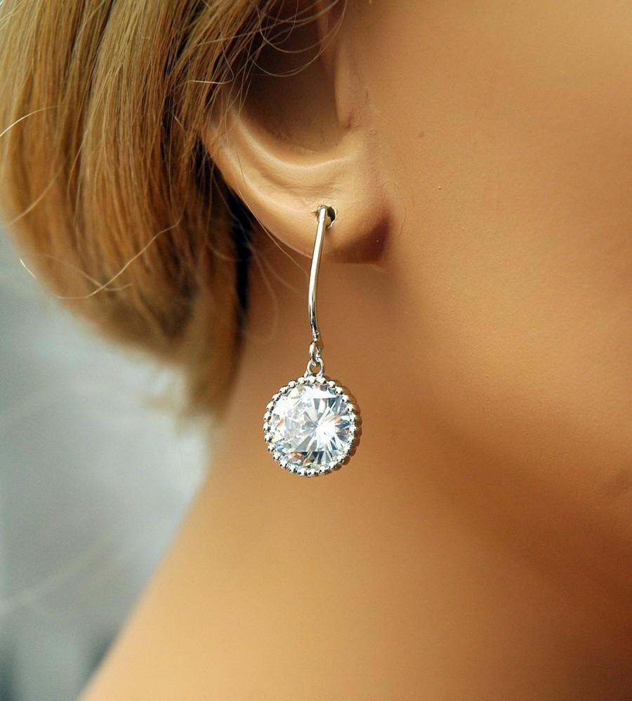 Wedding - Bridesmaid Earrings, Silver Bridal Earrings, Bridal Party Gift, Wedding Jewelry, Prom Swarivski Crystal Dangle Earrings, Formal Jewelry - $22.00 USD