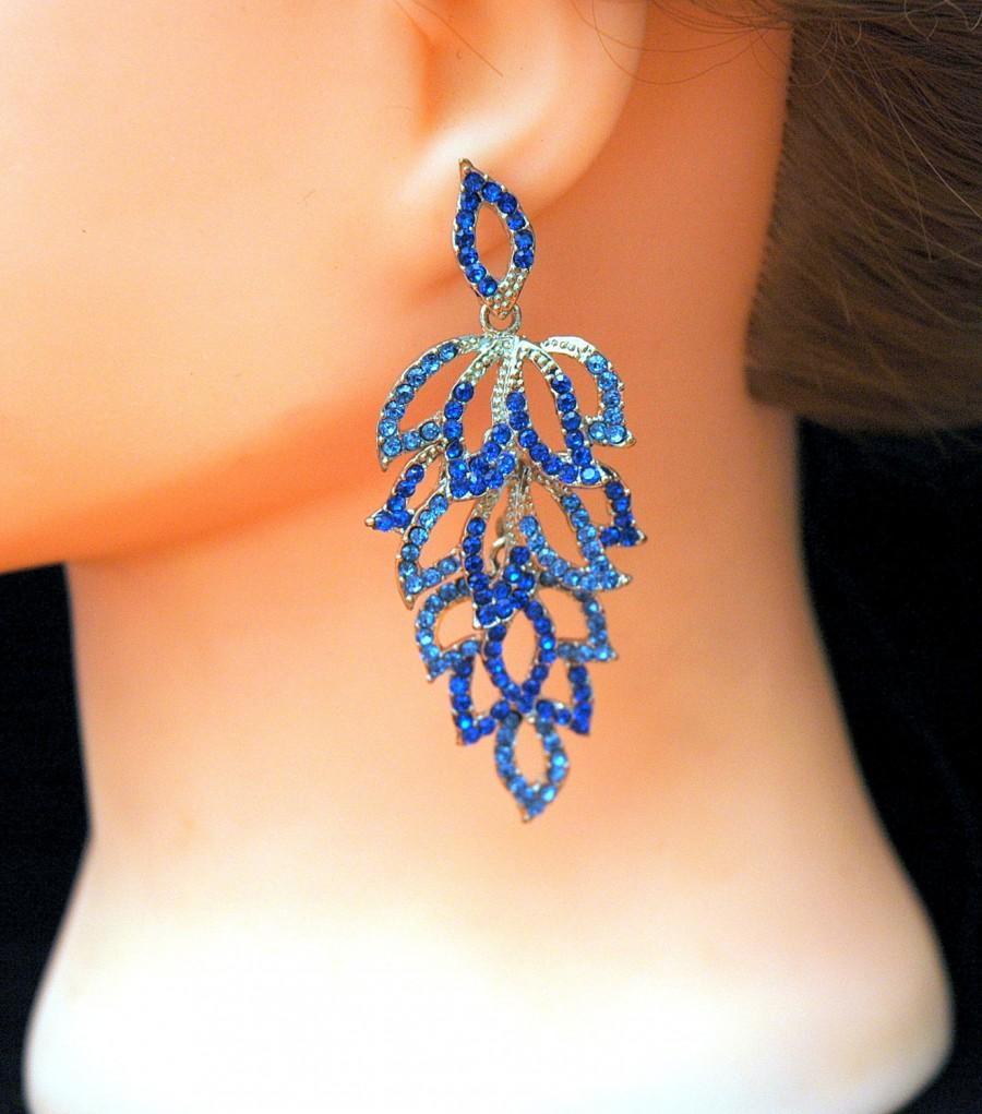 FREE SHIPPING Crystal Earrings Wedding Blue Earrings Bridal ...