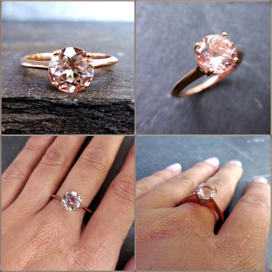 Düğün - Morganite Engagement Ring - 6mm Solitaire Round Morganite, Knife Edge Solitaire Band, Rose, Yellow or White Gold, Engagement Set