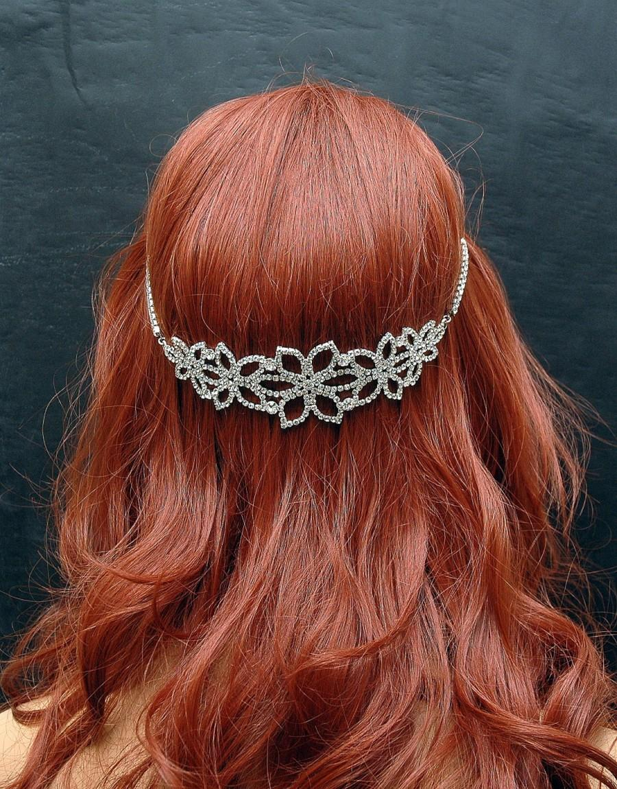 Mariage - Bridal Headband, Crystal Wedding Headband, Bridal Headpiece, Boho Hair Chain, Wedding Hair Piece, Hair Jewelry, Silver Prom Accessories - $35.00 USD