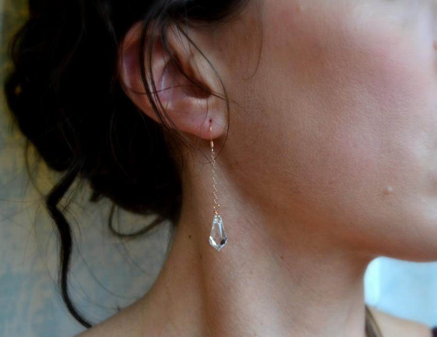 Mariage - 14K Rose Gold, Swarovski Crystal Tear Drop Earrings, Long Bridal Teardrop Earrings Crystal, Unique, Simple Wedding Jewelry, Bridesmaids