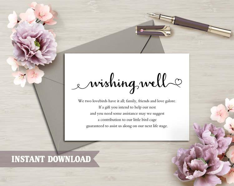 wishing well card wedding wishing well wishing well printable wishing well bridal shower wedding insert heart script wishing well template 690 usd