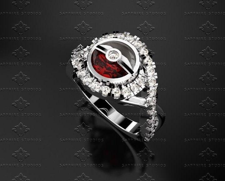 Düğün - 2.20ct Pokeball and Ruby Solid White Gold Ring