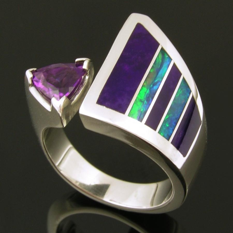 Düğün - Australian Opal Ring with Sugilite and Amethyst Accents, Opal Engagement Ring, Sugilite and Opal Ring