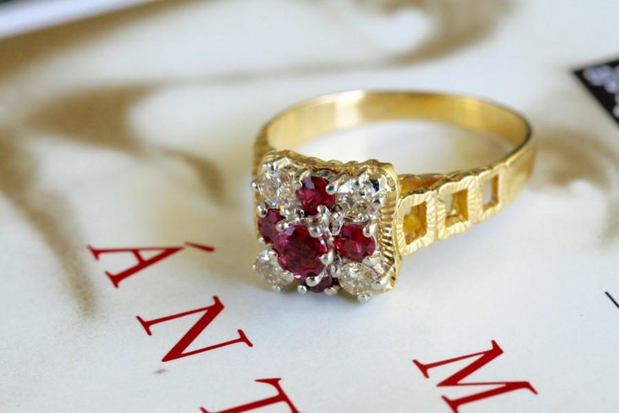 Boda - Clearance--30% off! Victorian Revival Ruby Diamond Engagement Ring, Etruscan Revival Statement Ring, 18k Gold Natural Ruby Ring