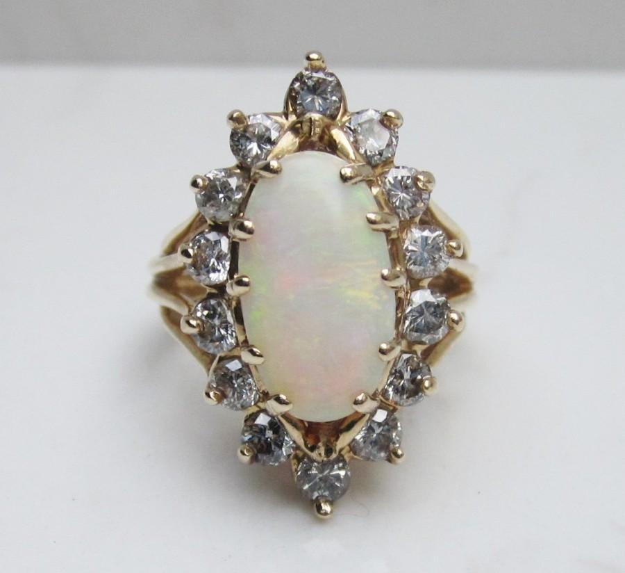 Düğün - Huge Retro Halo Diamond and Natural White Opal Halo Ring Set 14k Solid Yellow Gold, Size 6.5