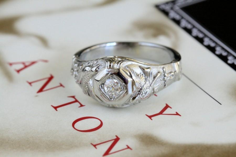 Boda - Art Nouveau Diamond Engagement Ring, Antique 18k White Gold Unique Engagement Ring, 1920s Art Deco Diamond Alternative Engagement Ring Doves