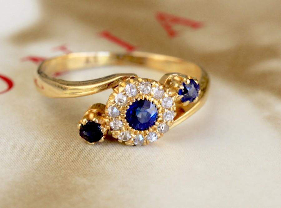 Düğün - Edwardian Sapphire Diamond Engagement Ring, 18k Gold Antique Past Present Future Ring, Sapphire Diamond Halo Ring, Natural Sapphire Ring