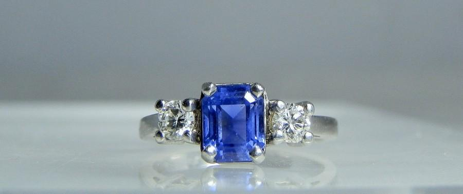 Düğün - Vintage Platinum Sapphire Diamond Engagement Ring Stuller Size 6.5 Emerald Cut Blue Sapphire Bright Round Diamonds Original Retail 430