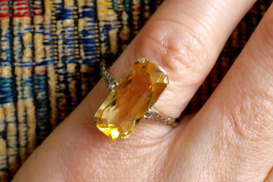 زفاف - Antique Belais 4ct Citrine Engagement Ring, Art Nouveau Engagement Ring, Antique Engagement Ring, Art Deco Engagement ring, 14k Gold Ring