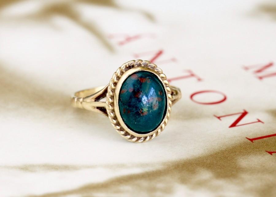 Düğün - Edwardian 1.4ct  Bloodstone Engagement Ring, Antique Engagement Ring, Victorian Bloodstone Gold Ring, Antique Heliotrope Ring, Vintage Ring