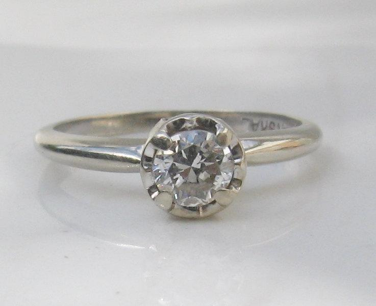 Boda - Vintage MidCentury 14k Solid White Gold Solitaire Diamond Engagement Ring, Size 6.75 - SI1 Clarity, H Color, .39 Carat