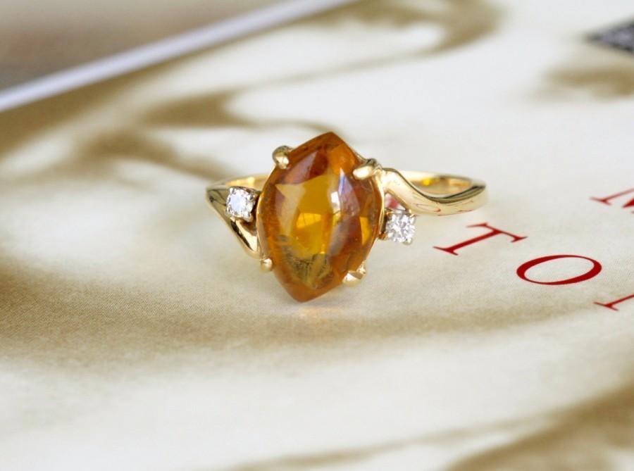 زفاف - Vintage F & F Felger Citrine Engagement Ring, 2.5ct Citrine Diamond Ring, 14k Gold, F F Felger Manufacturer for Tiffany, Cartier, FFF Ring