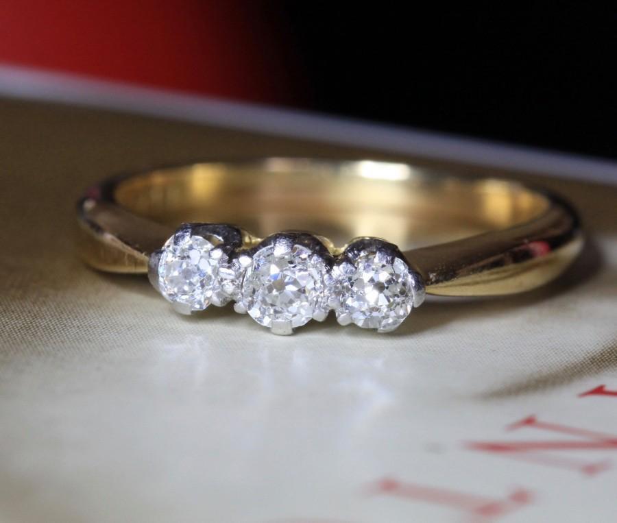 Boda - Art Deco .49ct Diamond Engagement Ring, Platinum 18k Gold Diamond Trilogy Ring, Antique Engagement Ring, Antique Wedding Band