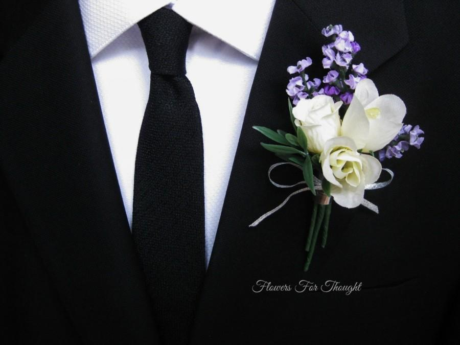 Wedding - Lavender Rose Boutonniere, Groomsmen Lapel Pin, Cream and Purple Wedding Flowers, FlowersForThought original design