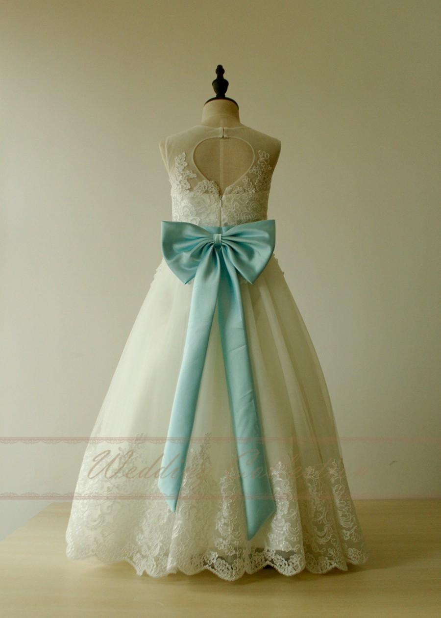 Mariage - Flower Girl Dress Lace Applique Princess Dress with Sash And bow