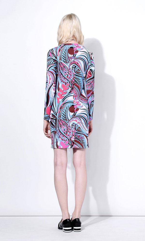 زفاف - Emilio Pucci Pink And Blue Grasshopper Print Short Dress