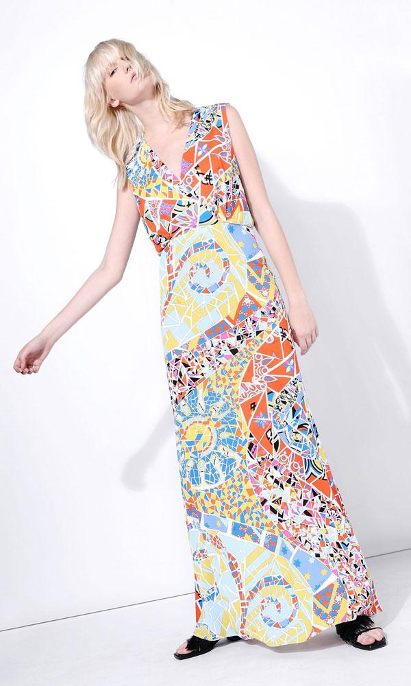 Mariage - Emilio Pucci V Neckline Mosaico Print Long Dress