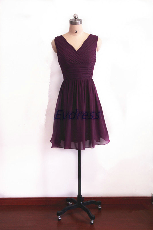 Mariage - Eggplant chiffon Bridesmaid Dress short v-neck bridesmaid gowns a-line wedding dresses for women custom size prom gowns for homecoming party