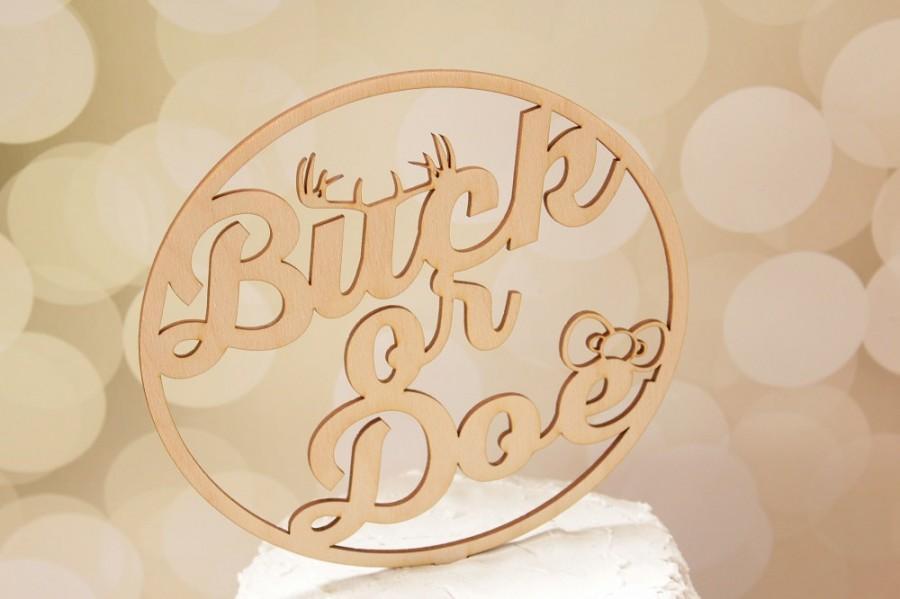 Mariage - Buck or Doe Gender Reveal Cake Topper Baby Shower Cake Topper Rustic Baby Shower