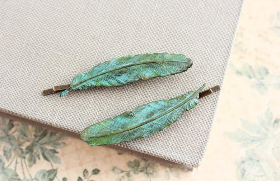 Mariage - Feather Bobby Pins Verdigris Patina feather Hair Accessories Pair of Feathers Teal Blue Feather Rustic Green Brass Woodland Nature Bird