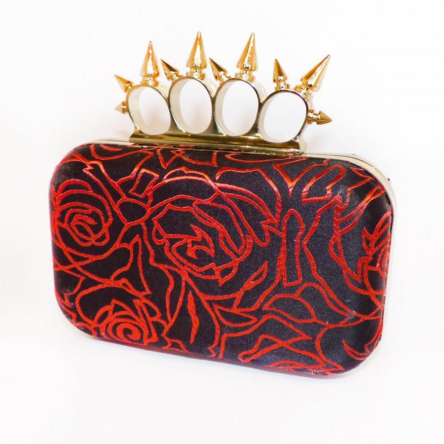 Wedding - Minaudière Silk Clutch Box Bag,  Evening, Purse Spikey Knuckleduster Punk Black & Red Roses  'McQueen' *handmade *gift *Gothic wedding