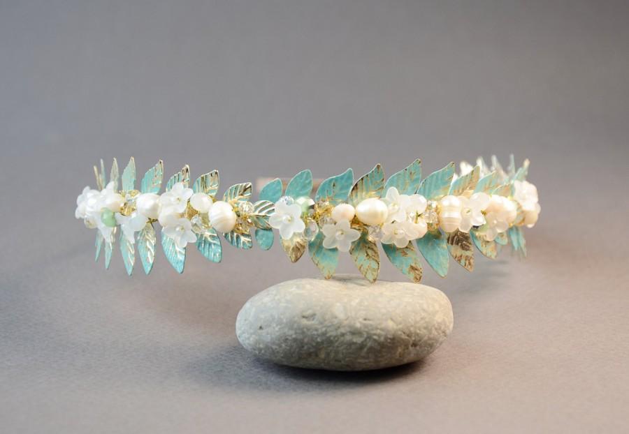 Mariage - Mint Green leaf tiara pearl crown wedding headband gold leaf crown leaf headband Grecian Headpiece Goddess Laurel Leaf Crown leaf bohemian
