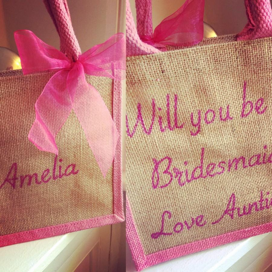 Hochzeit - Personalised Bridesmaid Gift Tote Bag - Will you be my Bridesmaid, Maid of Honour, Flower Girl Gift. - Unique Bridal Party Tote Bags