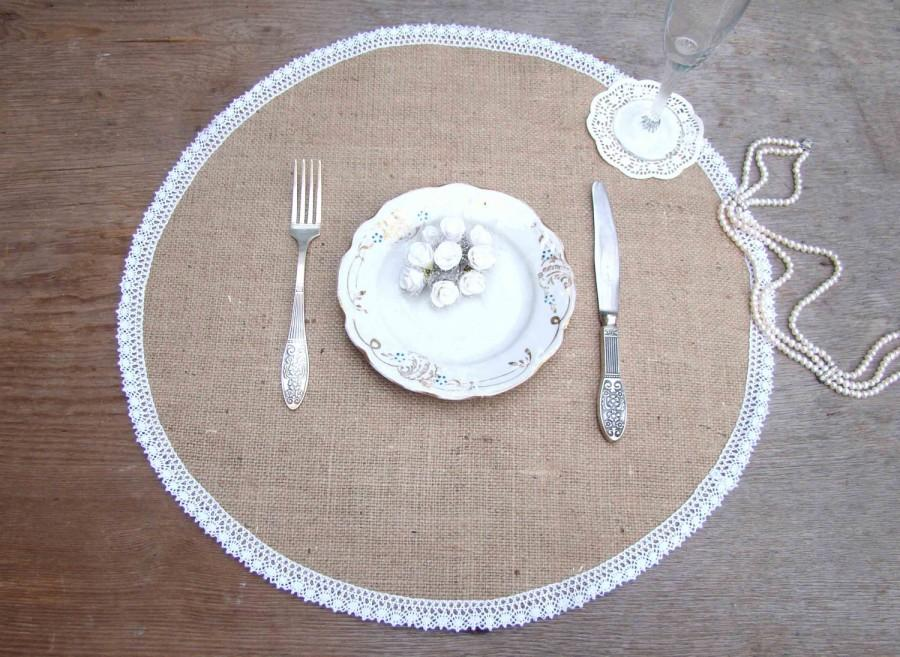Hochzeit - Wedding Burlap Placemat Round Table Setting Circular Dinner Placemat Burlap and white lace Overlay Country Table Mat Rustic Chic Decor - $5.11 USD