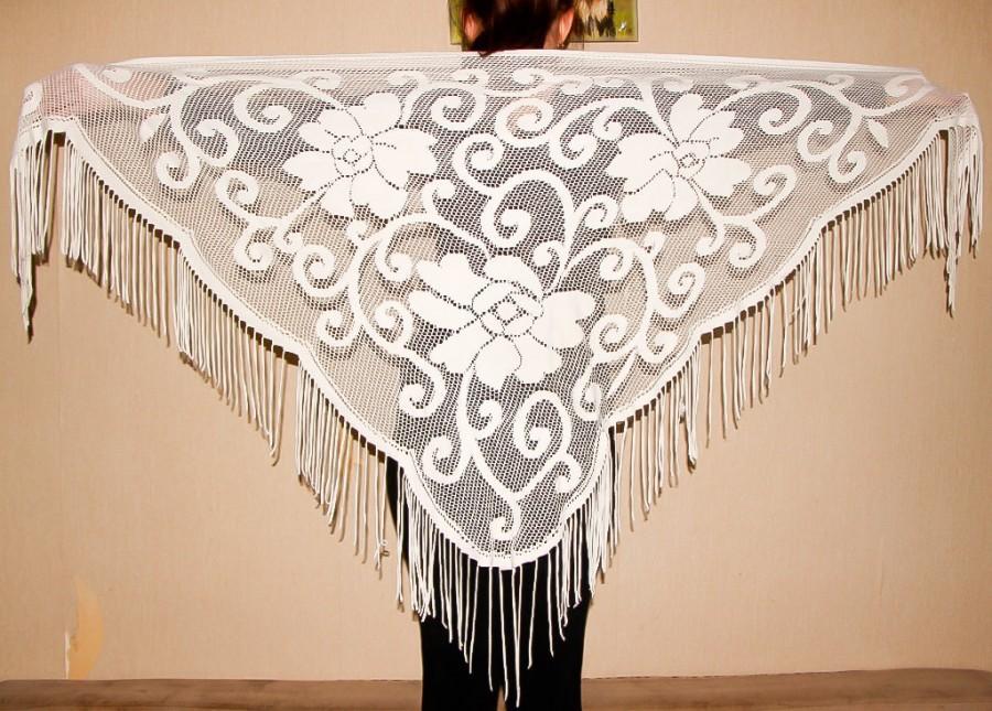 Mariage - White Lace Shawl Fringe Belly Dance Scarf Triangular Floral Scarf Vintage Bohemian Style Shawl Gypsy Dancing Accessory Hip Flamenco Shawl - $38.00 USD
