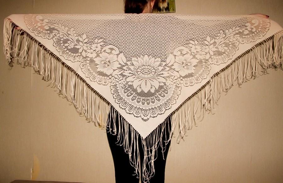 Hochzeit - Ivory Lace Shawl with Fringe Belly Dance Scarf Bohemian Lace Scarf Disco era Triangle Shawl Evening Wrap Gypsy Lace Shawl Dancing Accessory - $25.00 USD