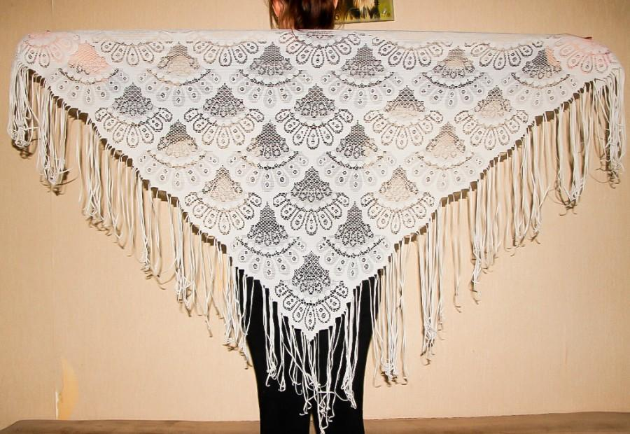 Mariage - Light Gray Lace Shawl Triangular Evening Wrap Grey Fringed Scarf Festival Gypsy Women Fashion Scarf Bridal Lace Shawl Bohemian Style Shawl - $28.00 USD