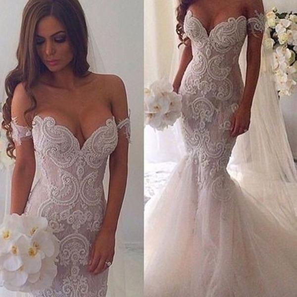 Hochzeit - New Vintage Mermaid Off The Shoulder Formal Lace Charming Wedding Dresses. AB0220